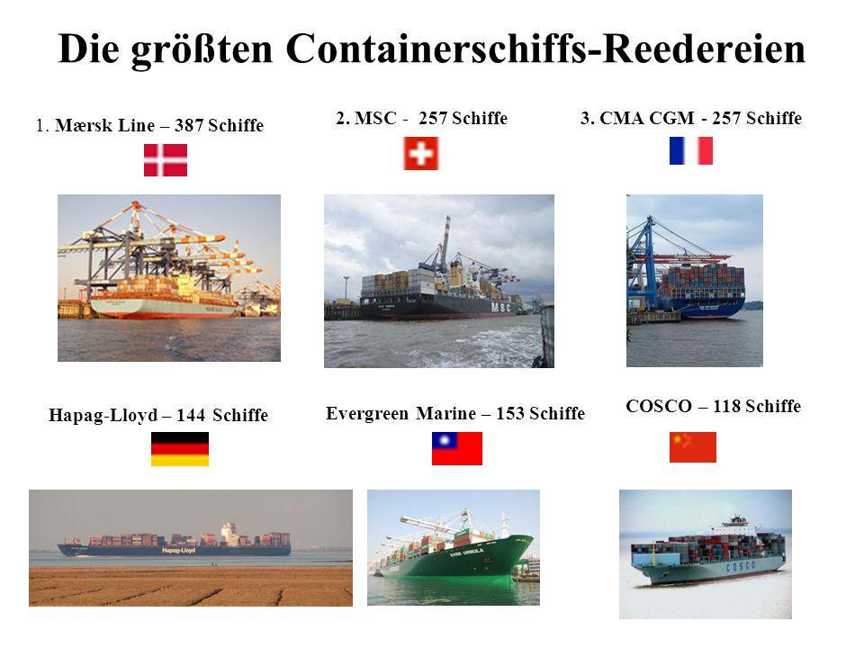 Die größten Containerschiffs-Reedereien 1. Mærsk Line – 387 Schiffe 2. MSC - 257 Schiffe3. CMA CGM - 257 Schiffe Hapag-Lloyd – 144 Schiffe Evergreen M