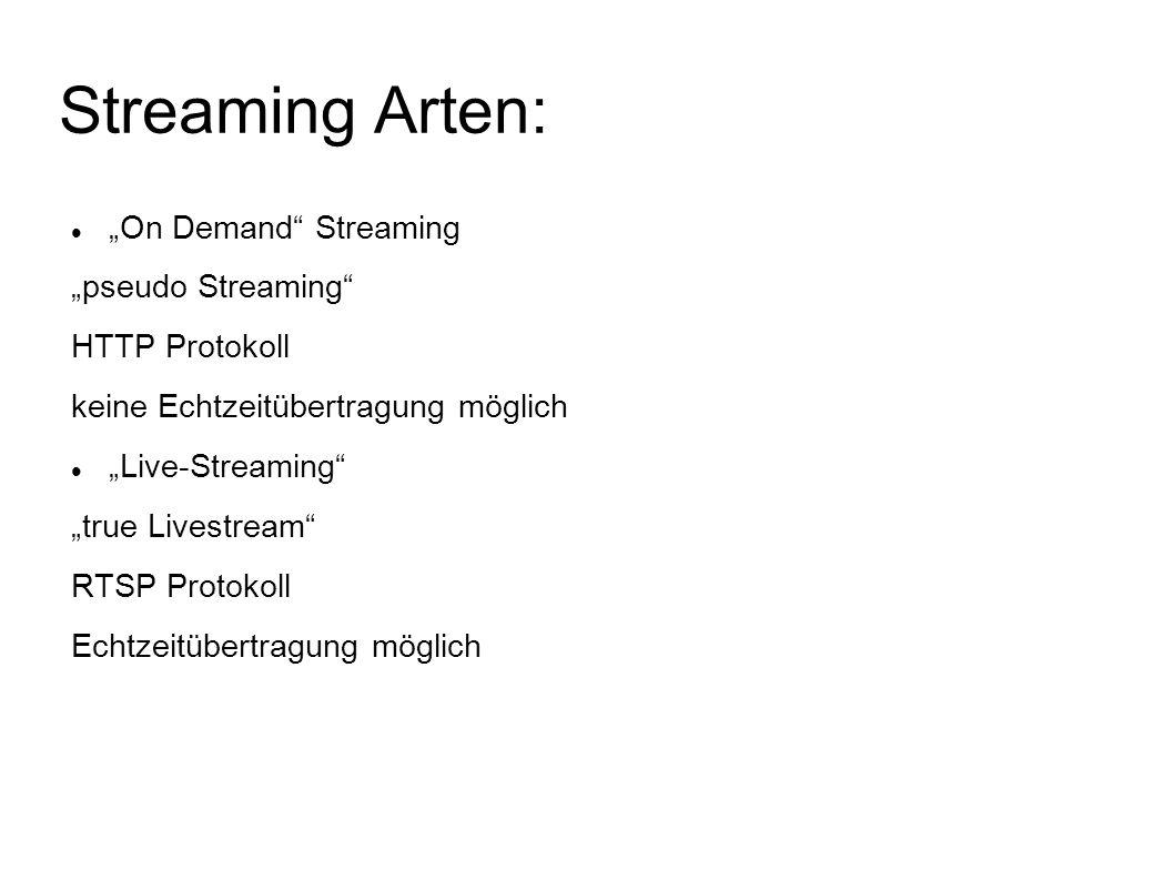 """Streaming Arten: """"On Demand"""" Streaming """"pseudo Streaming"""" HTTP Protokoll keine Echtzeitübertragung möglich """"Live-Streaming"""" """"true Livestream"""" RTSP Pro"""