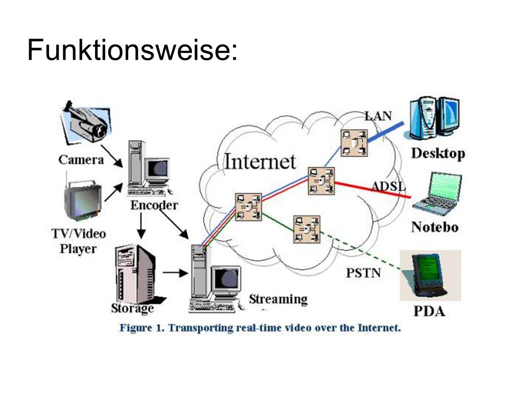 Software Empfängerseite: Entweder Plug-in im Webbrowser oder eigene Wiedergabeprogramme Flash Video Streaming MP3 MP4 QuickTime RealMedia Windows Media