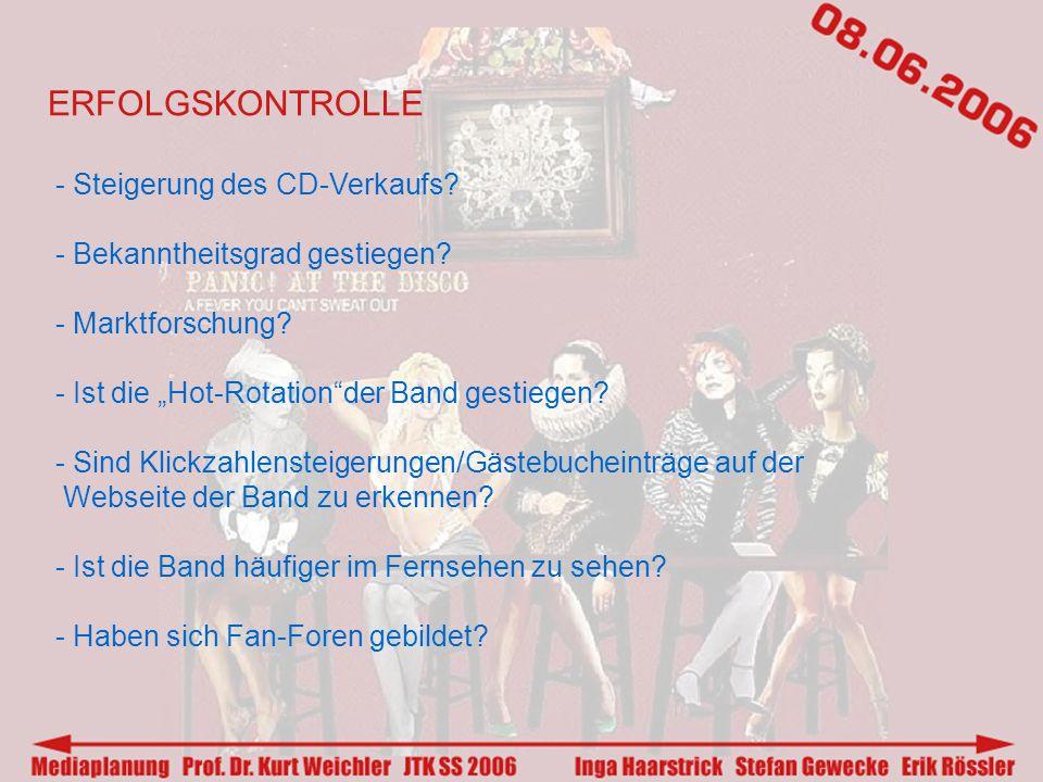 ERFOLGSKONTROLLE - Steigerung des CD-Verkaufs. - Bekanntheitsgrad gestiegen.