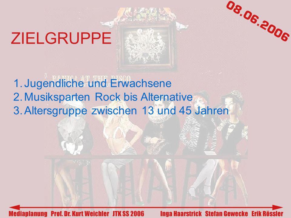 ZIELGRUPPE 1.Jugendliche und Erwachsene 2.Musiksparten Rock bis Alternative 3.Altersgruppe zwischen 13 und 45 Jahren