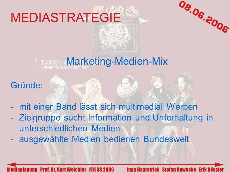 MEDIASTRATEGIE Marketing-Medien-Mix Gründe: -mit einer Band lässt sich multimedial Werben -Zielgruppe sucht Information und Unterhaltung in unterschiedlichen Medien -ausgewählte Medien bedienen Bundesweit