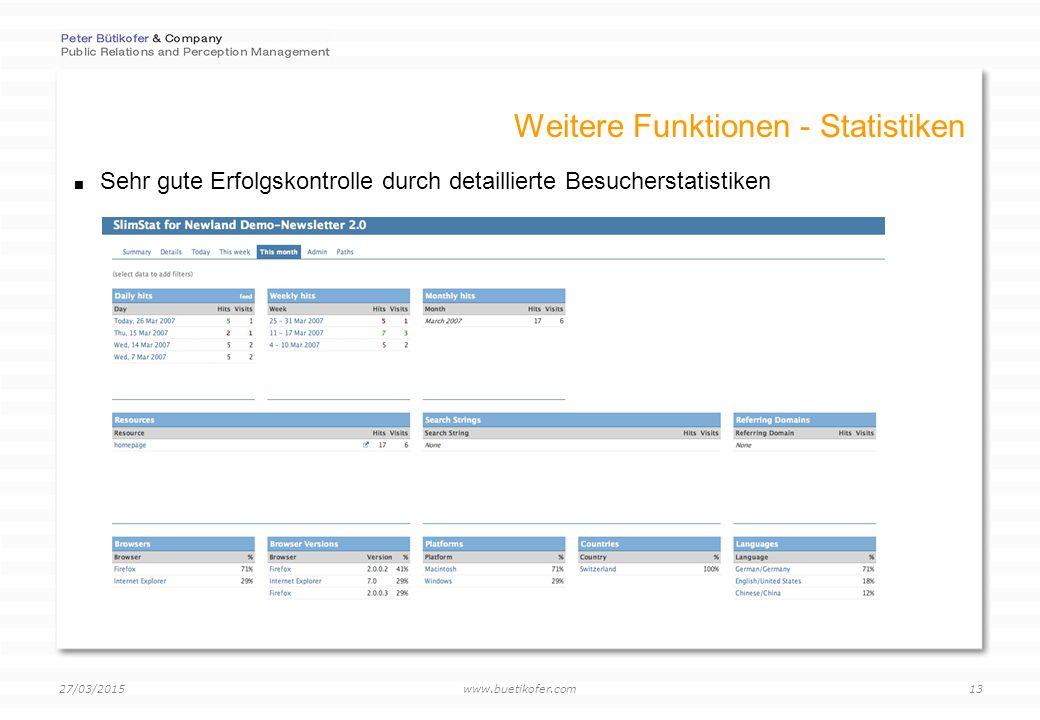 www.buetikofer.com 27/03/2015 13 Weitere Funktionen - Statistiken  Sehr gute Erfolgskontrolle durch detaillierte Besucherstatistiken