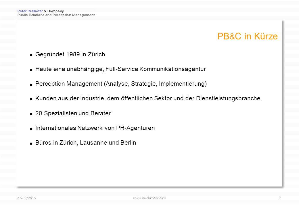 www.buetikofer.com 27/03/2015 14 Anwendungsbeispiel Eine Anwendungsmöglichkeit: Bei Georg Fischer AG wird der Newsletter 2.0 für das Medien-Monitoring eingesetzt