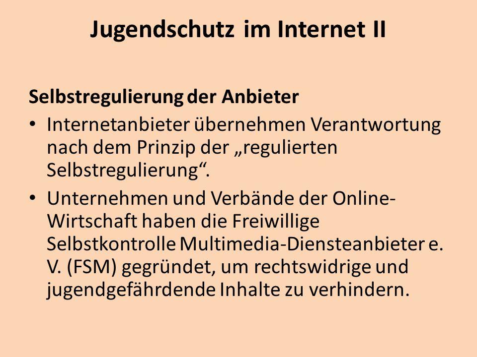 """Jugendschutz im Internet II Selbstregulierung der Anbieter Internetanbieter übernehmen Verantwortung nach dem Prinzip der """"regulierten Selbstregulierung ."""