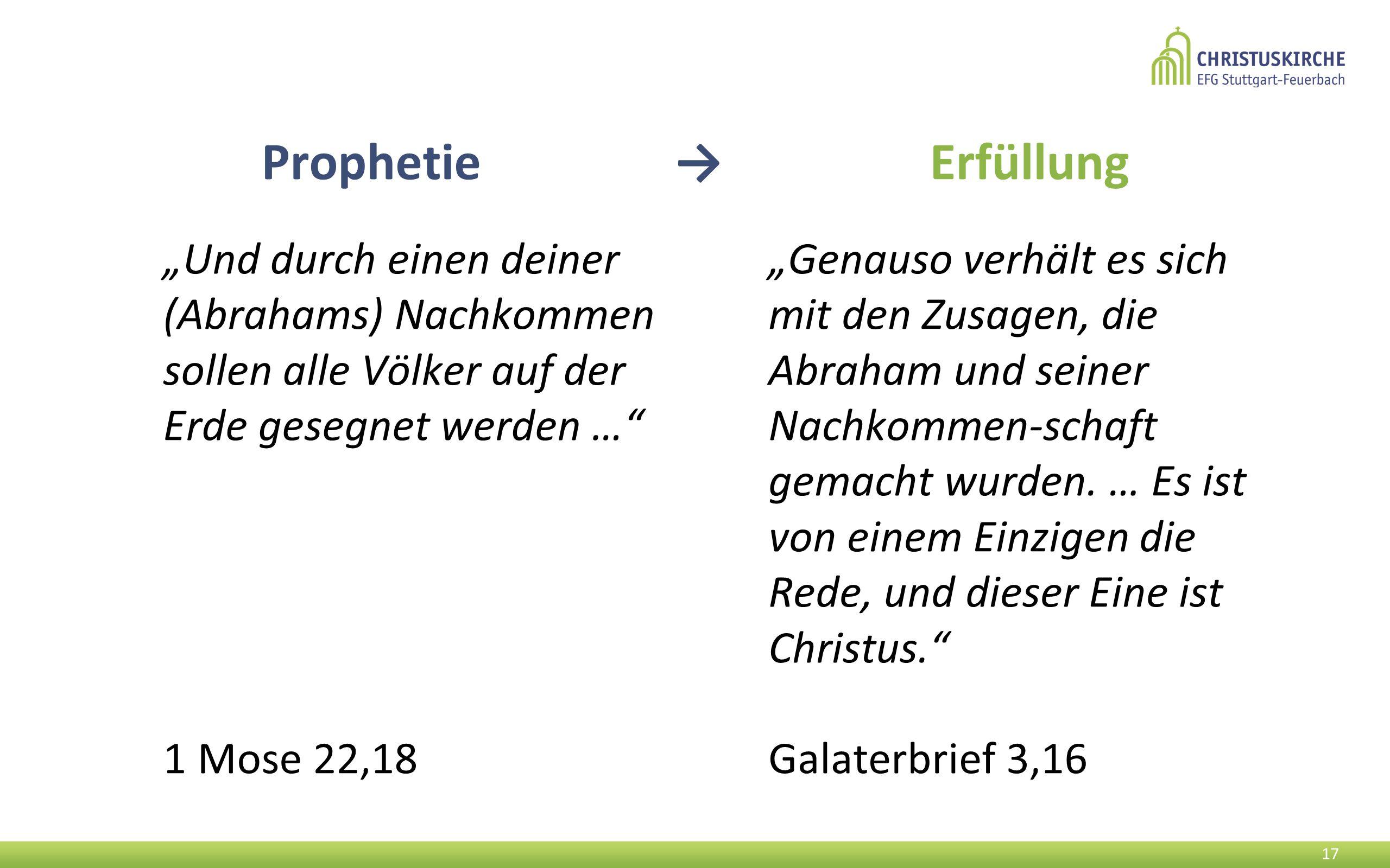 """""""Und durch einen deiner (Abrahams) Nachkommen sollen alle Völker auf der Erde gesegnet werden … 1 Mose 22,18 17 """"Genauso verhält es sich mit den Zusagen, die Abraham und seiner Nachkommen-schaft gemacht wurden."""