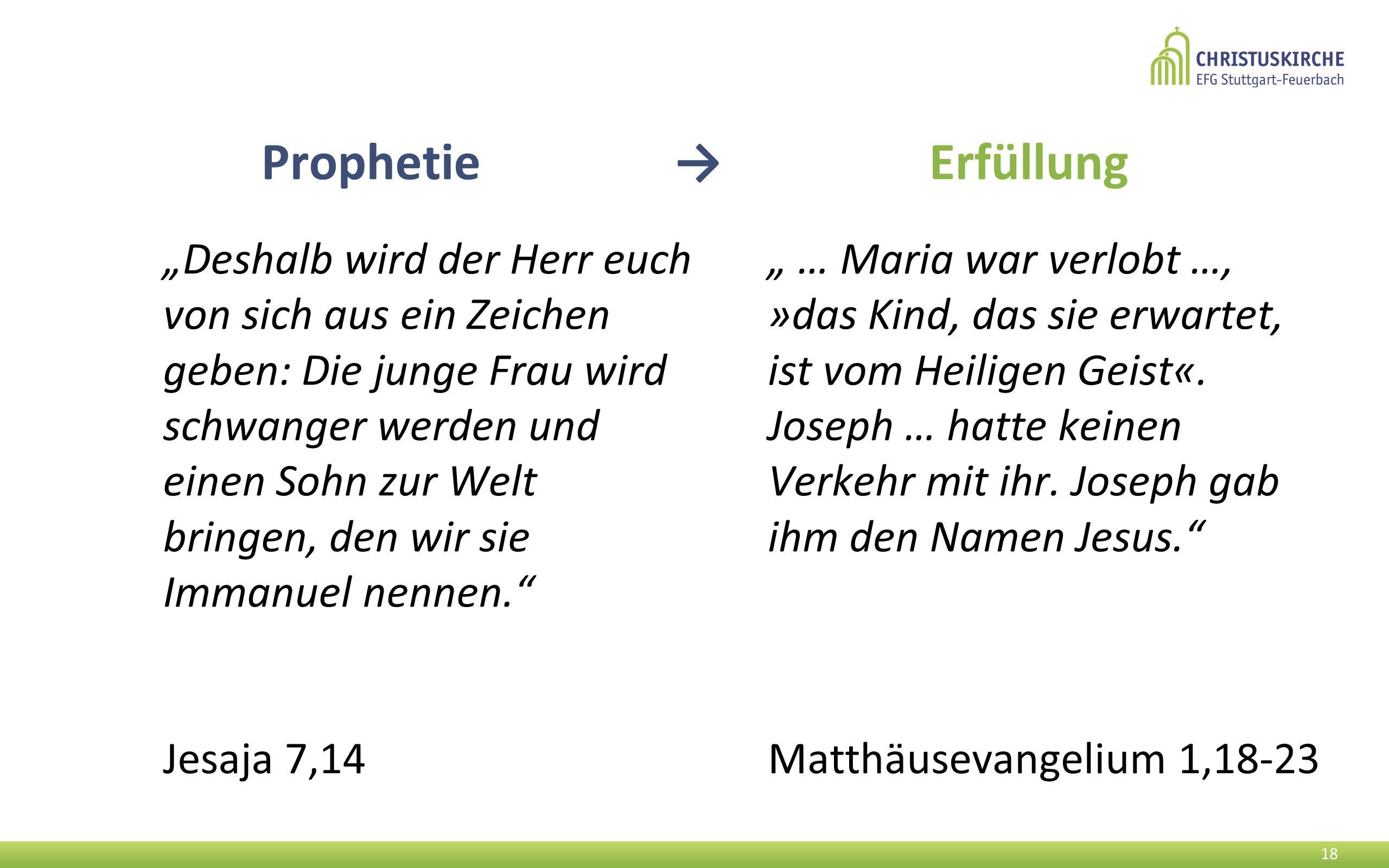 """""""Deshalb wird der Herr euch von sich aus ein Zeichen geben: Die junge Frau wird schwanger werden und einen Sohn zur Welt bringen, den wir sie Immanuel nennen. Jesaja 7,14 18 """" … Maria war verlobt …, »das Kind, das sie erwartet, ist vom Heiligen Geist«."""