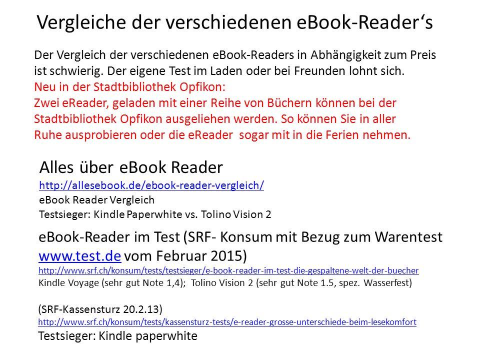 Vergleiche der verschiedenen eBook-Reader's Der Vergleich der verschiedenen eBook-Readers in Abhängigkeit zum Preis ist schwierig. Der eigene Test im