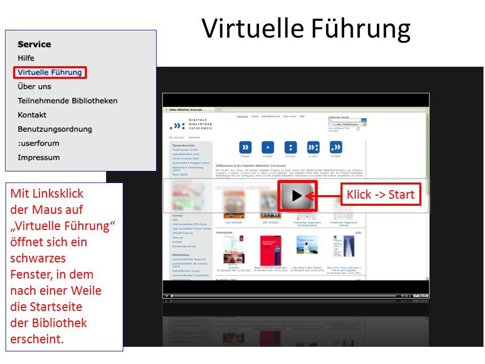 """Virtuelle Führung Mit Linksklick der Maus auf """"Virtuelle Führung"""" öffnet sich ein schwarzes Fenster, in dem nach einer Weile die Startseite der Biblio"""