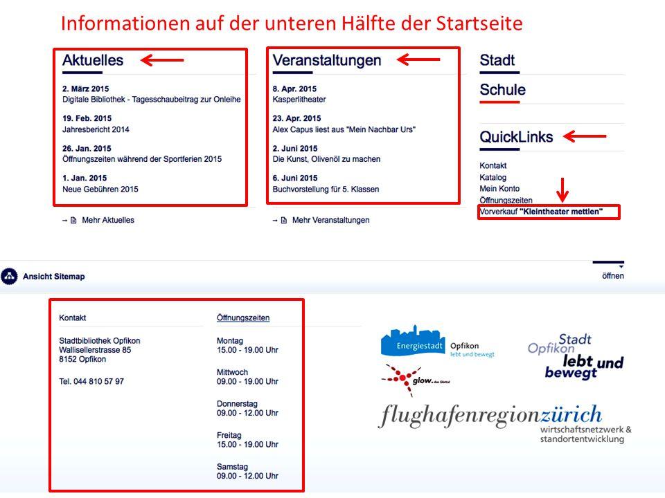 Informationen auf der unteren Hälfte der Startseite