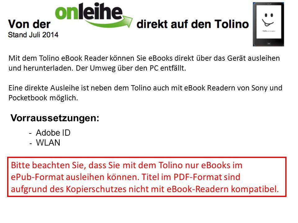 Mit dem Tolino eBook Reader können Sie eBooks direkt über das Gerät ausleihen und herunterladen. Der Umweg über den PC entfällt. Eine direkte Aus