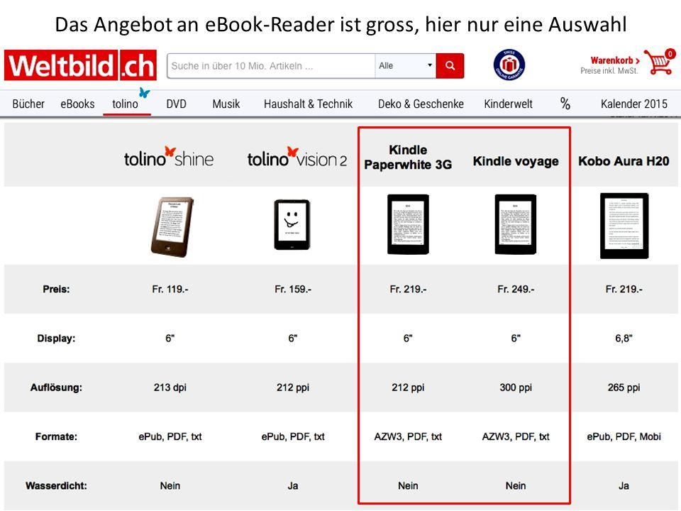 Markante Merkmale der eBook-Reader Leichts Gewicht Langlebige Akkuladungen von ca 5000 Seiten.