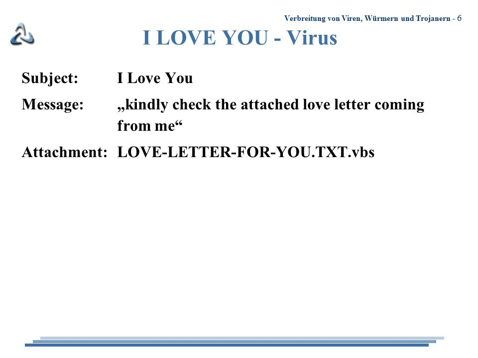"Verbreitung von Viren, Würmern und Trojanern - 6 I LOVE YOU - Virus Subject:I Love You Message:""kindly check the attached love letter coming from me"""