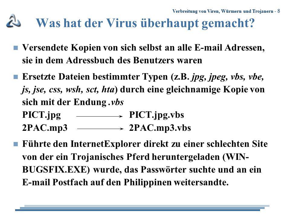 Verbreitung von Viren, Würmern und Trojanern - 8 Was hat der Virus überhaupt gemacht? n Versendete Kopien von sich selbst an alle E-mail Adressen, sie