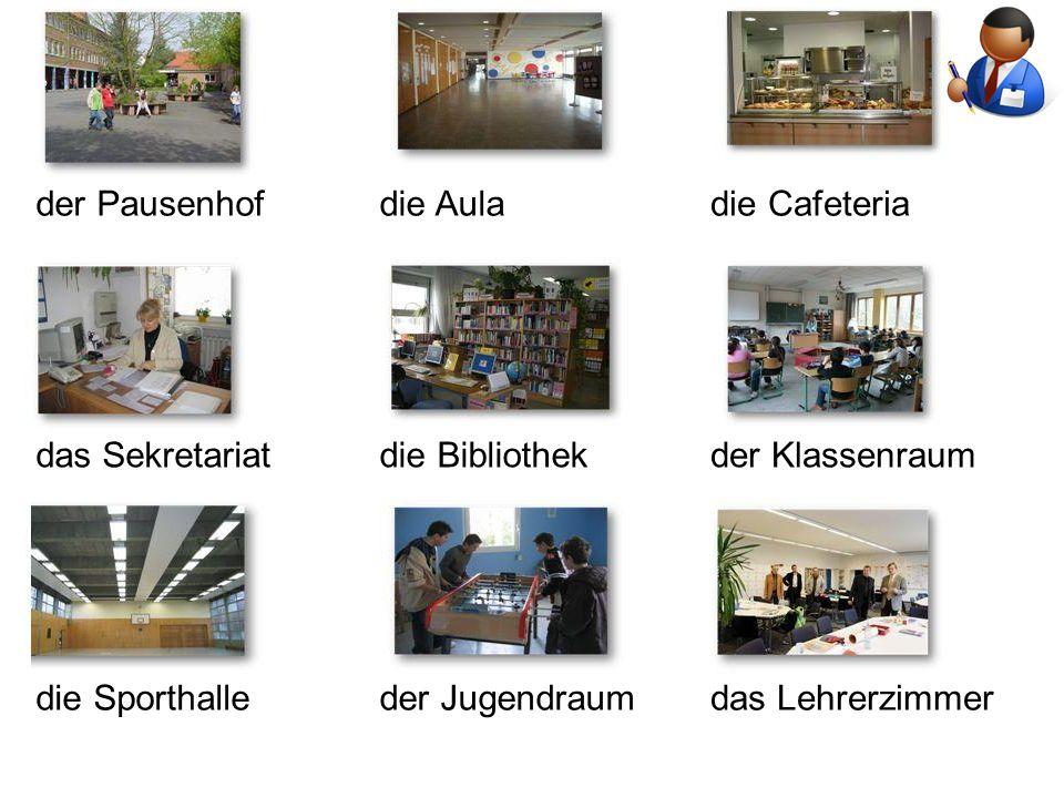 der Pausenhofdie Auladie Cafeteria das Sekretariatdie Bibliothekder Klassenraum die Sporthalleder Jugendraumdas Lehrerzimmer