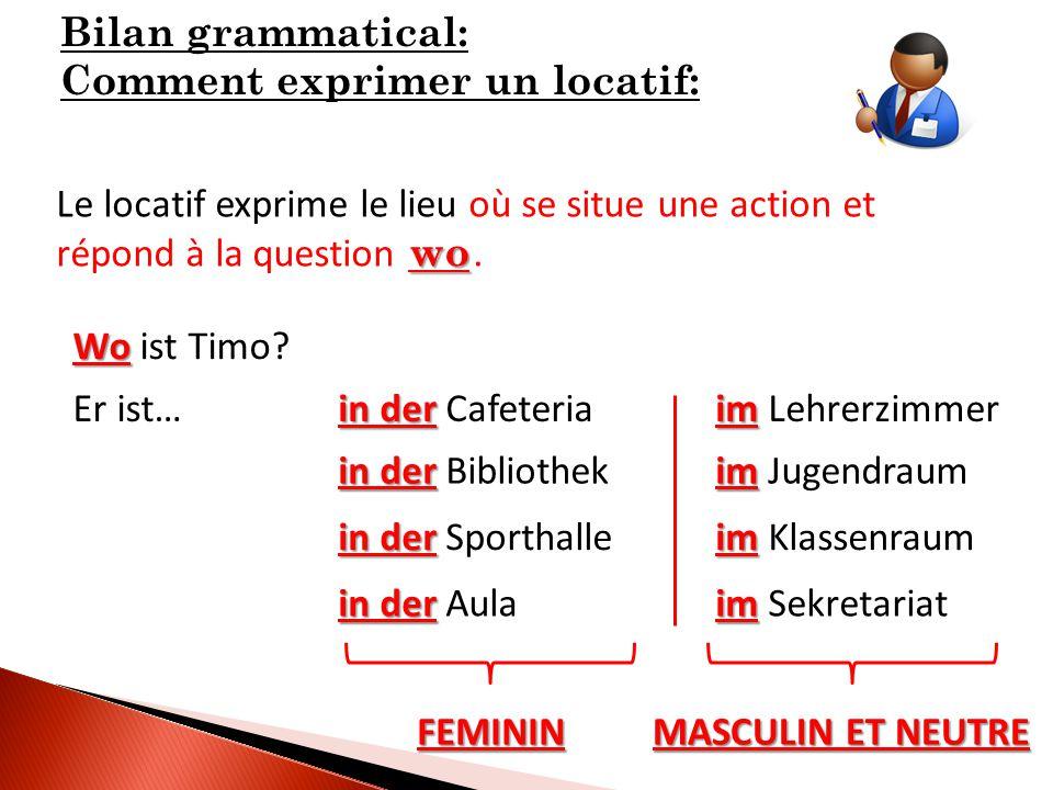 Bilan grammatical: Comment exprimer un locatif: Le locatif exprime le lieu où se situe une action et répond à la question.