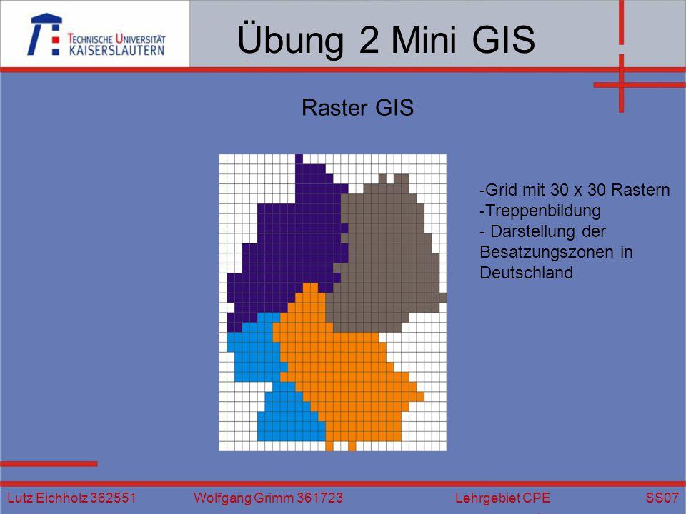 Übung 2 Mini GIS Lutz Eichholz 362551 Wolfgang Grimm 361723 Lehrgebiet CPE SS07 Raster GIS -Grid mit 30 x 30 Rastern -Treppenbildung - Darstellung der