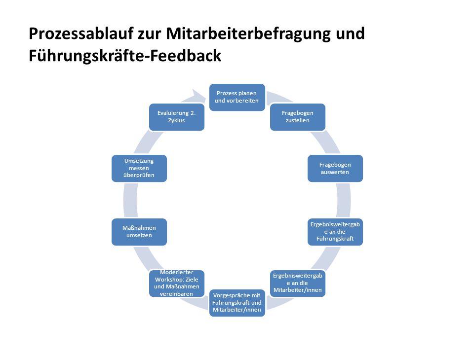 Prozessablauf zur Mitarbeiterbefragung und Führungskräfte-Feedback Prozess planen und vorbereiten Fragebogen zustellen Fragebogen auswerten Ergebniswe