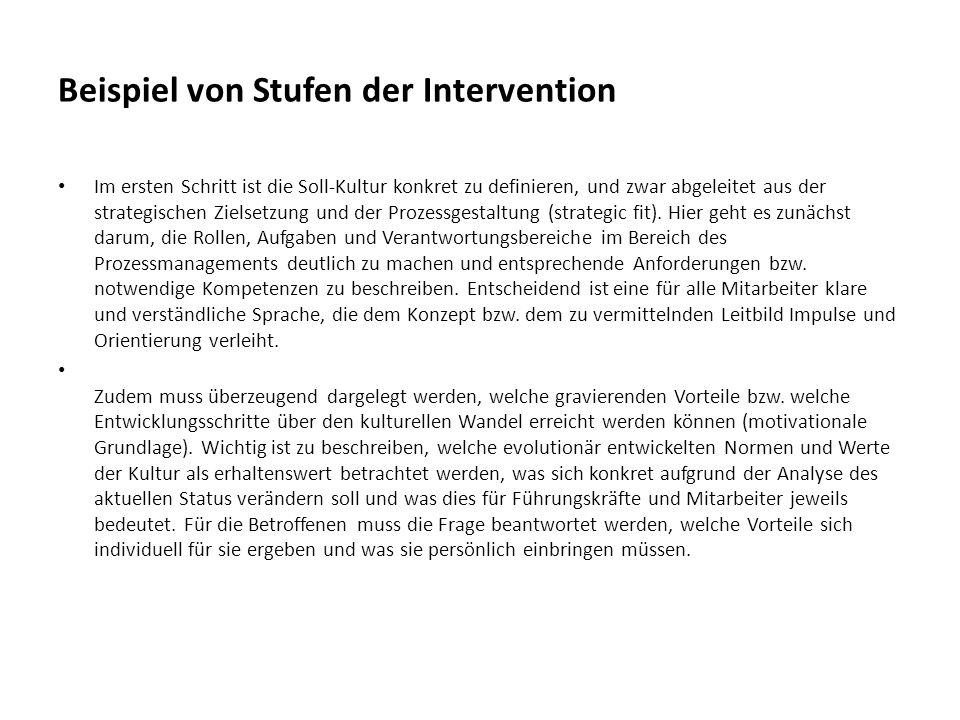 Beispiel von Stufen der Intervention Im ersten Schritt ist die Soll-Kultur konkret zu definieren, und zwar abgeleitet aus der strategischen Zielsetzun