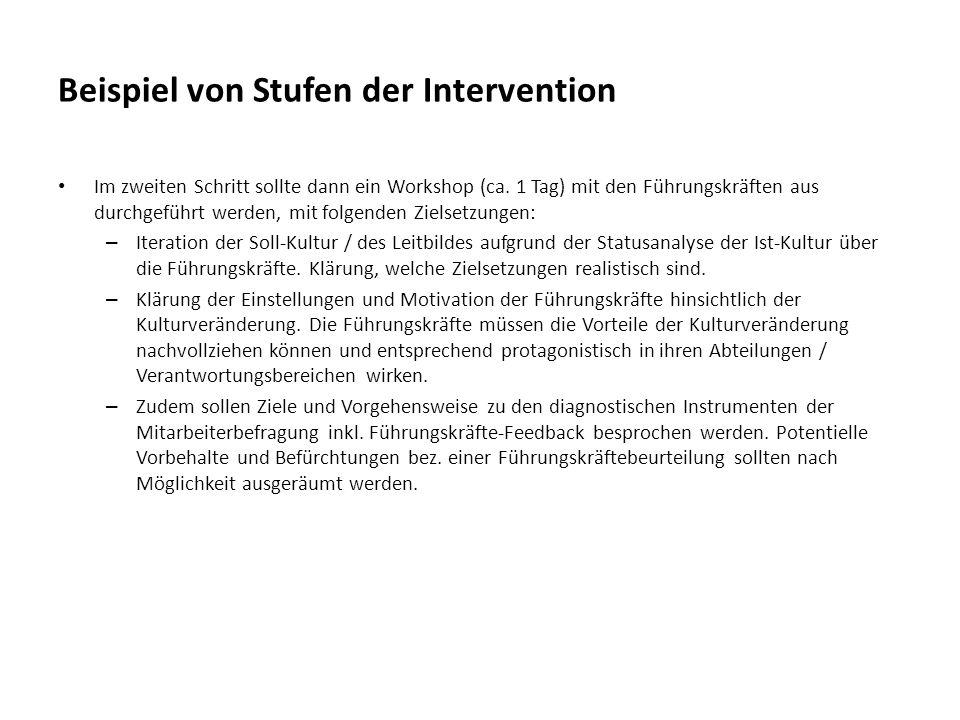 Beispiel von Stufen der Intervention Im zweiten Schritt sollte dann ein Workshop (ca. 1 Tag) mit den Führungskräften aus durchgeführt werden, mit folg
