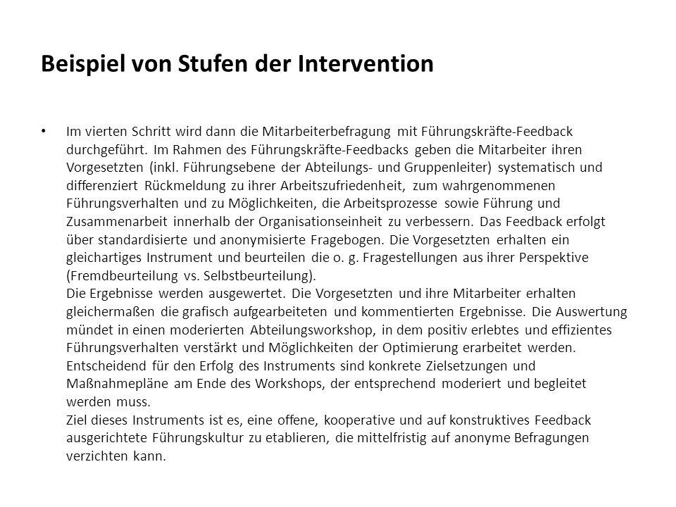 Beispiel von Stufen der Intervention Im vierten Schritt wird dann die Mitarbeiterbefragung mit Führungskräfte-Feedback durchgeführt. Im Rahmen des Füh