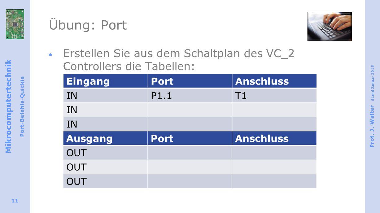 Mikrocomputertechnik Port-Befehls-Quickie Prof. J. Walter Stand Januar 2015 11 Übung: Port  Erstellen Sie aus dem Schaltplan des VC_2 Controllers die