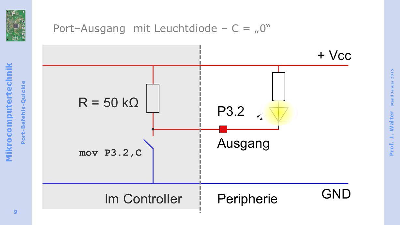 "Mikrocomputertechnik Port-Befehls-Quickie Prof. J. Walter Stand Januar 2015 9 Port–Ausgang mit Leuchtdiode – C = ""0"" Ausgang + Vcc GND R = 50 kΩ Im Co"