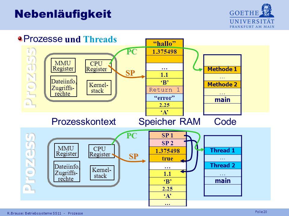 """Folie 19 R.Brause: Betriebssysteme SS11 - Prozesse Nebenläufigkeit Coroutinen und Threads Thread 1 Thread 3 Thread 4 Thread 2 local1 1.1 local2 """"hallo"""