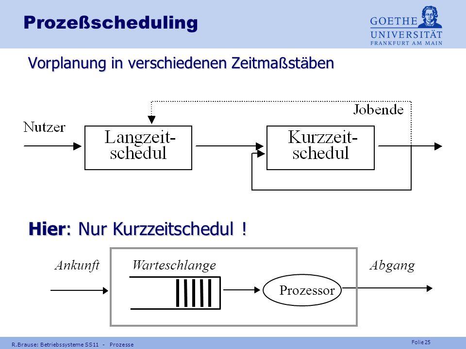 Folie 24 R.Brause: Betriebssysteme SS11 - Prozesse Grundlagen der Programmierung PRG-1 Teil 1 V07 Prozess-Scheduling Prozesse Nebenläufigkeit