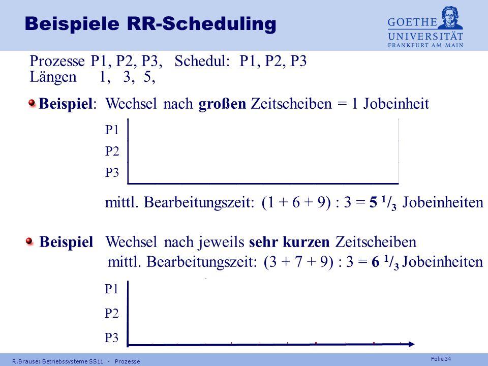 Folie 33 Frage Können Prozesse beim präemptiven Scheduling verhungern ? R.Brause: Betriebssysteme SS11 - Prozesse Antwort: Nein, da auch ihre Zeitsche