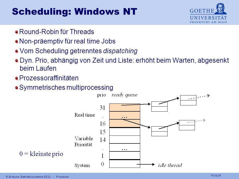 Folie 38 R.Brause: Betriebssysteme SS11 - Prozesse Scheduling: Unix Round-Robin, ersetzbar. dyn.Prio, jeweils eine FCFS-Warteschlange pro prio Benutze