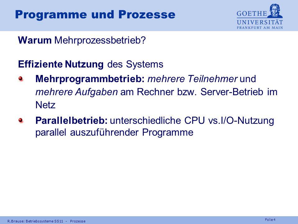 Folie 3 R.Brause: Betriebssysteme SS11 - Prozesse Prozess-Scheduling Prozesse Nebenläufigkeit