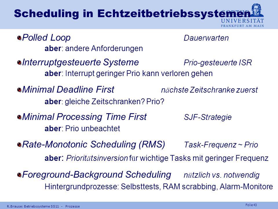 Folie 42 R.Brause: Betriebssysteme SS11 - Prozesse Scheduling in Echtzeitbetriebssystemen Beispiel Flugdatenverarbeitung,Tasks für flight-by-wire n Be