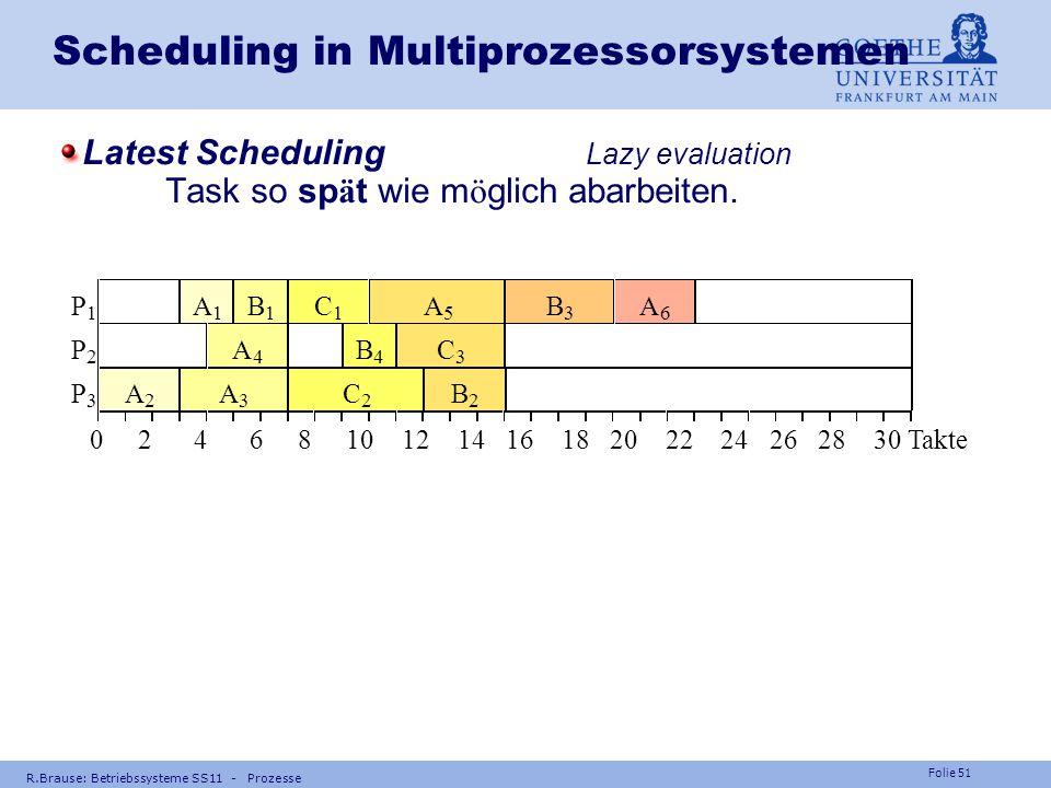 Folie 50 R.Brause: Betriebssysteme SS11 - Prozesse Scheduling in Multiprozessorsystemen Zerteilung Zerteilung der Taskmenge in Stufen (Pr ä zedenzpart
