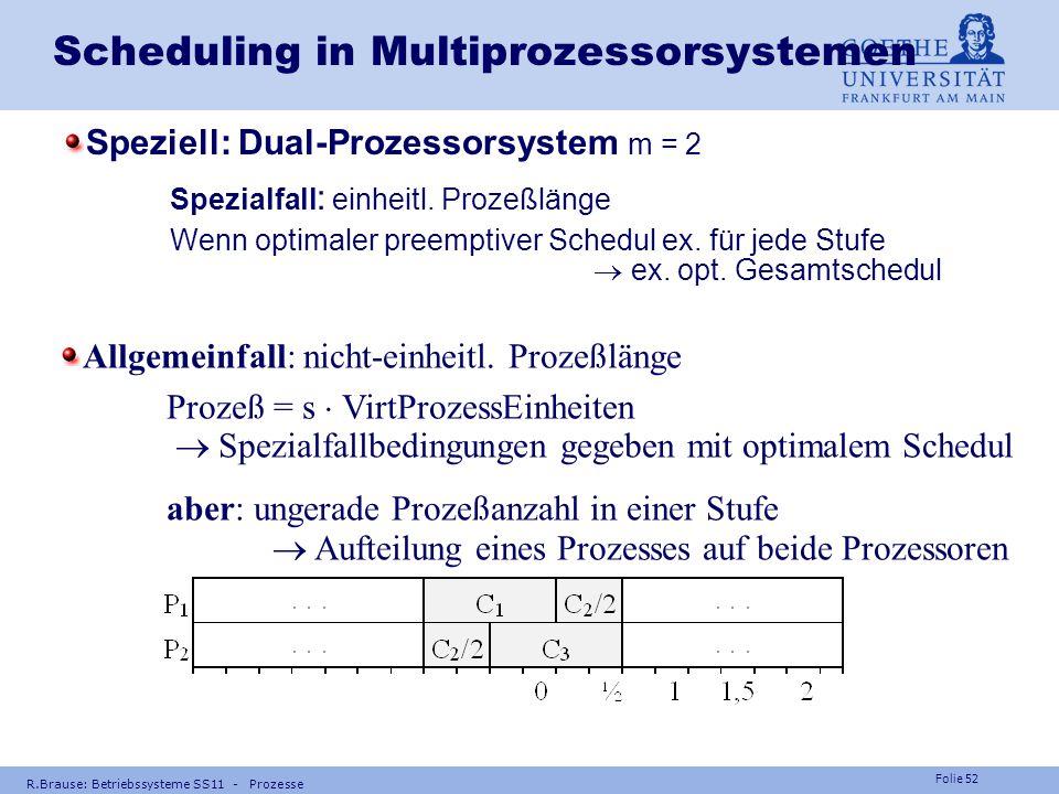Folie 51 R.Brause: Betriebssysteme SS11 - Prozesse Scheduling in Multiprozessorsystemen Latest Scheduling Lazy evaluation Task so sp ä t wie m ö glich