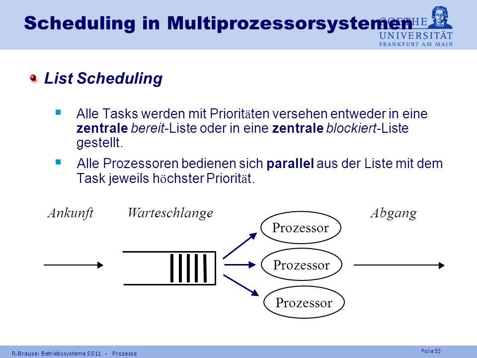 Folie 52 R.Brause: Betriebssysteme SS11 - Prozesse Scheduling in Multiprozessorsystemen Speziell: Dual-Prozessorsystem m = 2 Spezialfall : einheitl. P
