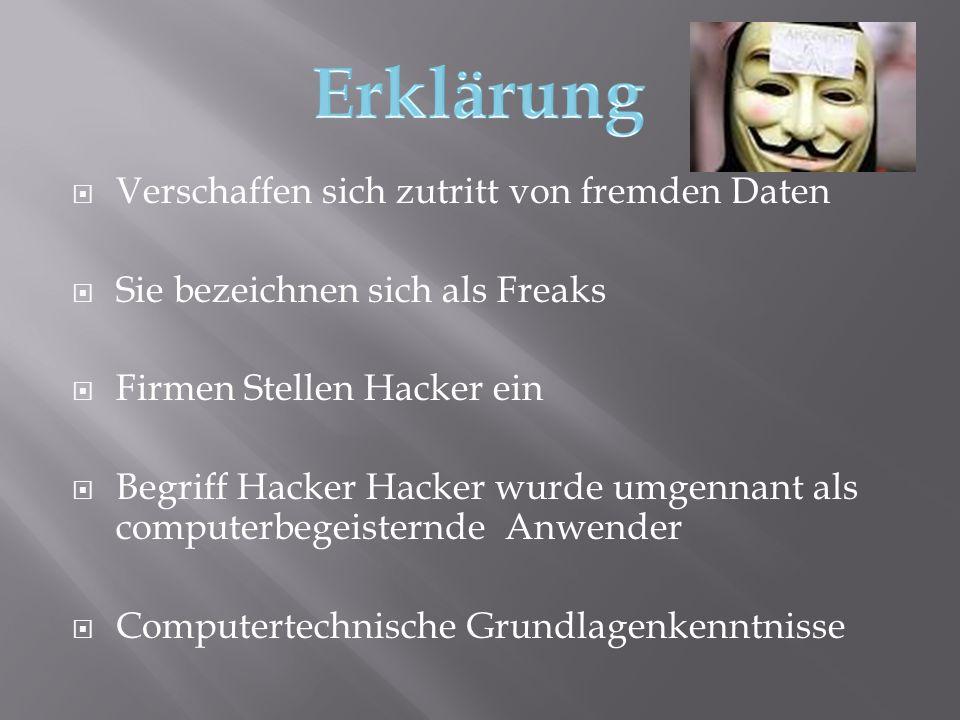  Es gibt 3 unterschiedlichen Arten von Hacker :  White-Hat-Hacker : Sind Hacker die für eine Firma gute Taten machen auf dem Computer  Black-Hat-Hacker: Sind Hacker die für Böswillige Absichten hacken  Scriptkiddies: Sind keine gefährlichen Hacker