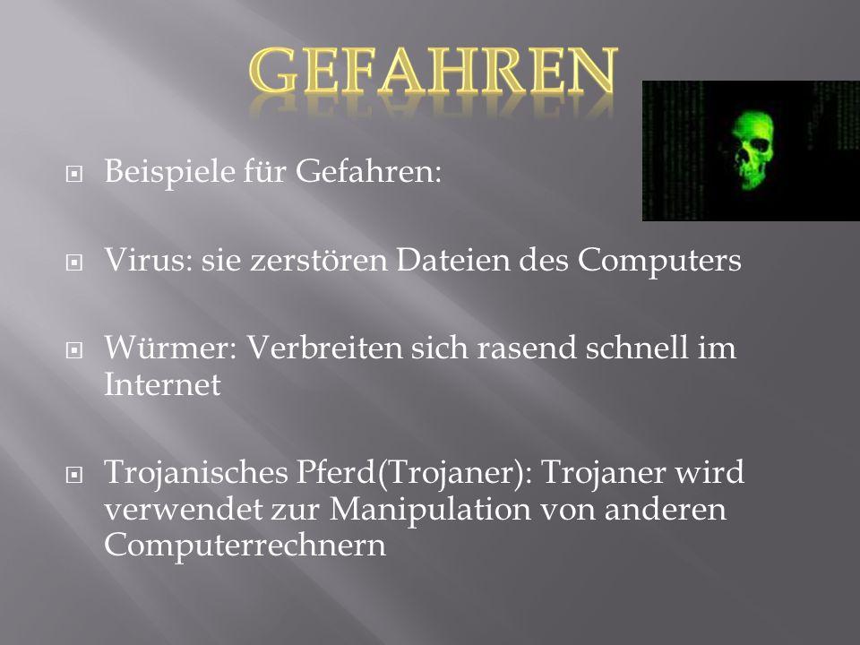  Beispiele für Gefahren:  Virus: sie zerstören Dateien des Computers  Würmer: Verbreiten sich rasend schnell im Internet  Trojanisches Pferd(Troja