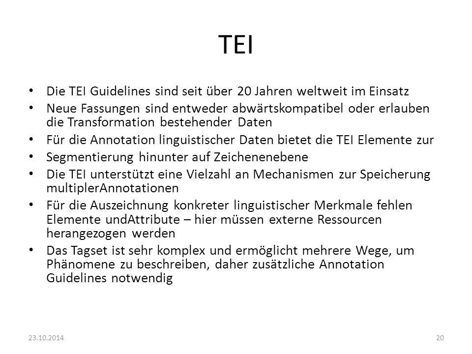 TEI Die TEI Guidelines sind seit über 20 Jahren weltweit im Einsatz Neue Fassungen sind entweder abwärtskompatibel oder erlauben die Transformation be