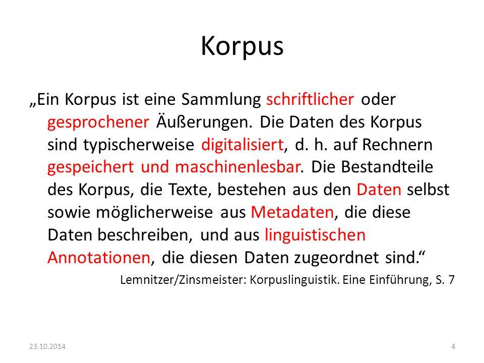 """Korpus """"Ein Korpus ist eine Sammlung schriftlicher oder gesprochener Äußerungen. Die Daten des Korpus sind typischerweise digitalisiert, d. h. auf Rec"""