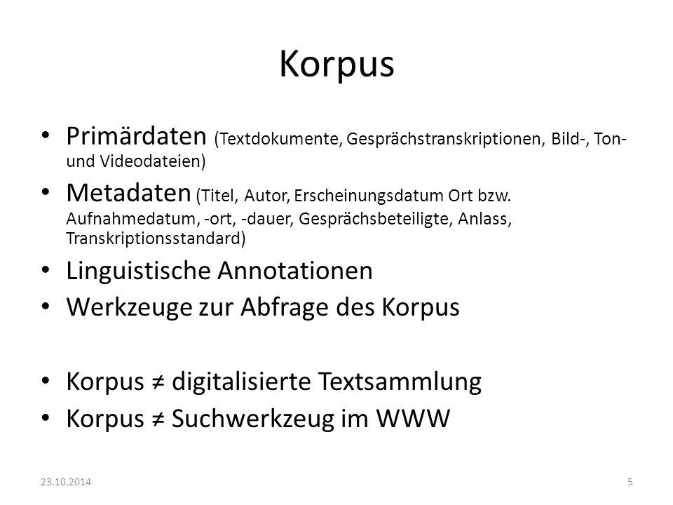 Korpus Primärdaten (Textdokumente, Gesprächstranskriptionen, Bild-, Ton- und Videodateien) Metadaten (Titel, Autor, Erscheinungsdatum Ort bzw. Aufnahm