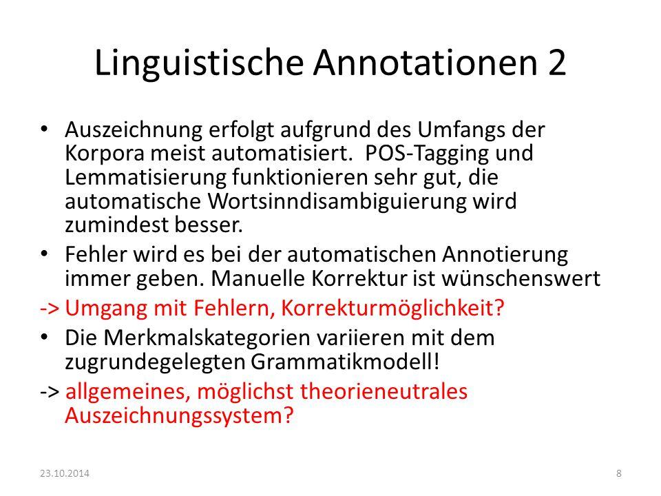 Linguistische Annotationen 2 Auszeichnung erfolgt aufgrund des Umfangs der Korpora meist automatisiert. POS-Tagging und Lemmatisierung funktionieren s