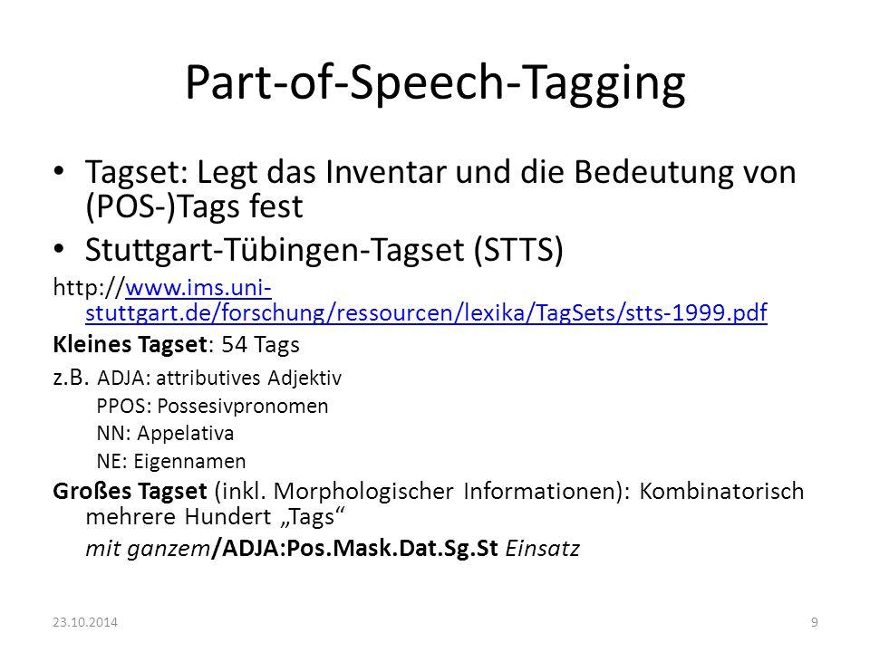 Part-of-Speech-Tagging Tagset: Legt das Inventar und die Bedeutung von (POS-)Tags fest Stuttgart-Tübingen-Tagset (STTS) http://www.ims.uni- stuttgart.