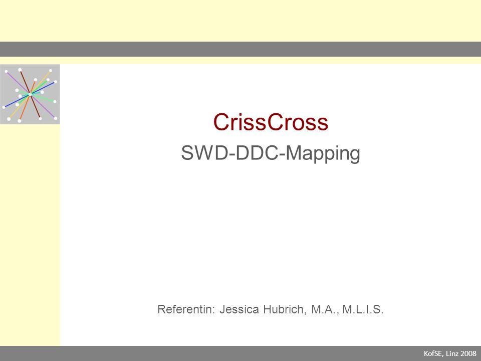 CrissCross SWD-DDC-Mapping Referentin: Jessica Hubrich, M.A., M.L.I.S. KofSE, Linz 2008