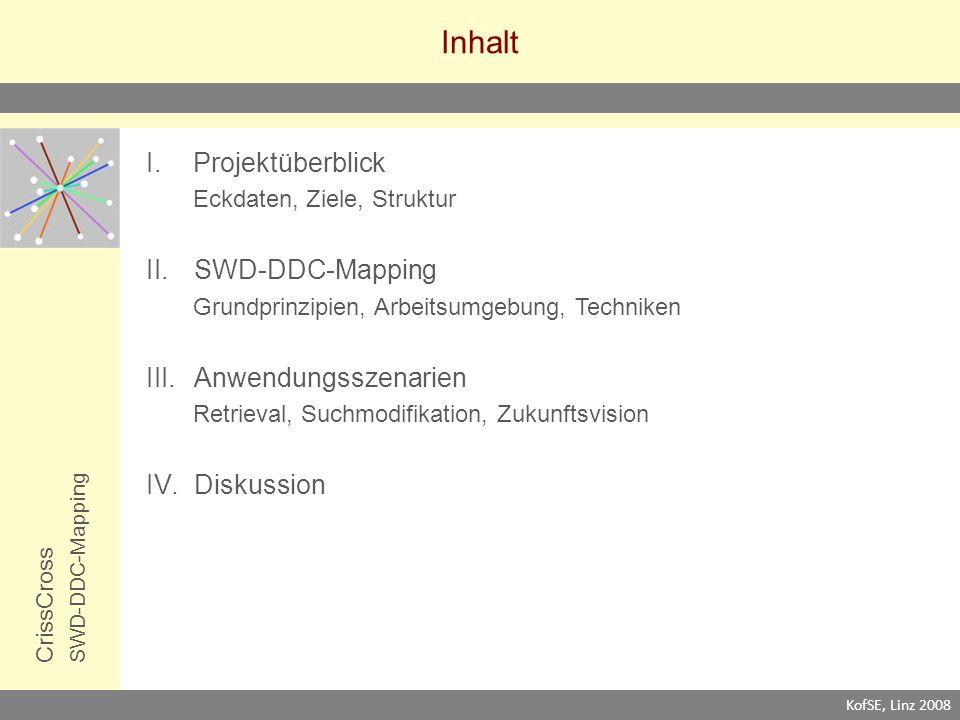 Inhalt CrissCrossSWD-DDC-Mapping I.Projektüberblick Eckdaten, Ziele, Struktur II.SWD-DDC-Mapping Grundprinzipien, Arbeitsumgebung, Techniken III.Anwendungsszenarien Retrieval, Suchmodifikation, Zukunftsvision IV.Diskussion KofSE, Linz 2008