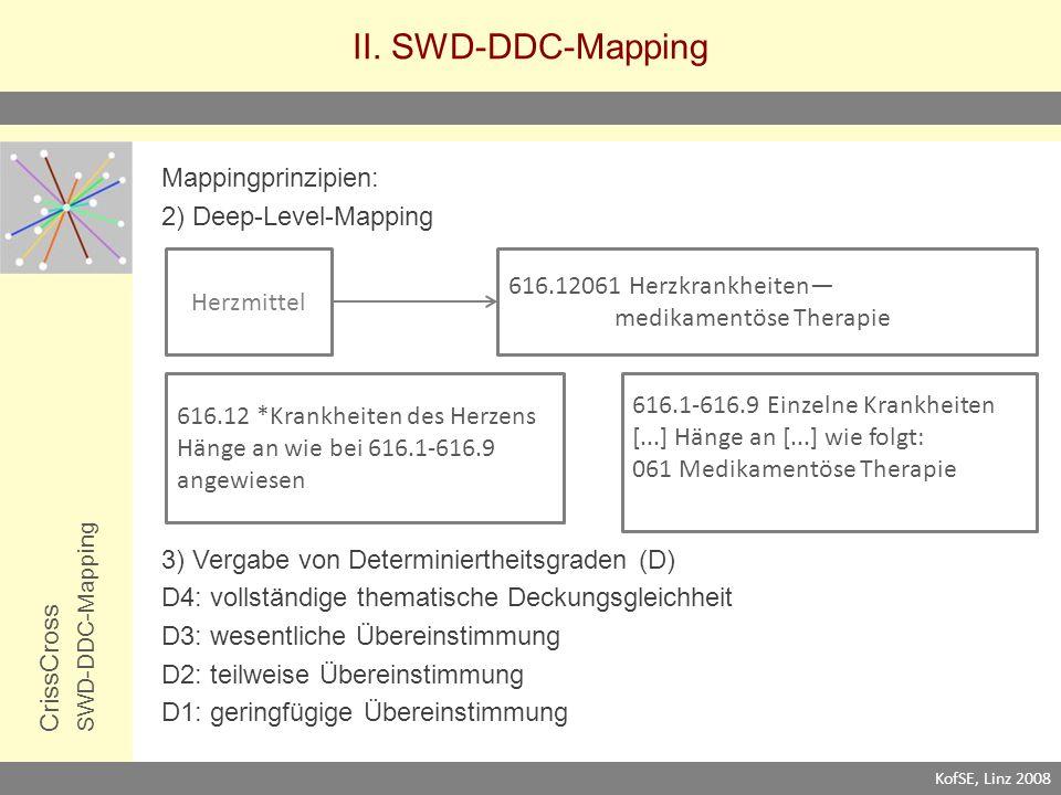 II. SWD-DDC-Mapping CrissCrossSWD-DDC-Mapping Mappingprinzipien: 2) Deep-Level-Mapping 3) Vergabe von Determiniertheitsgraden (D) D4: vollständige the
