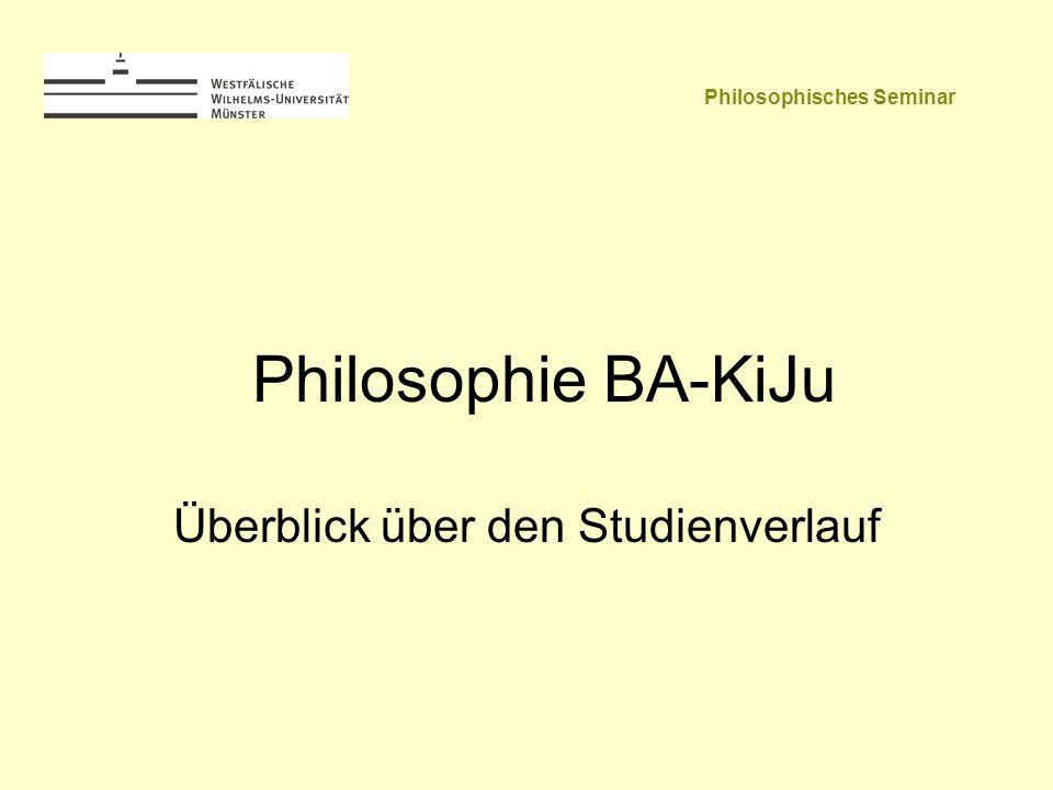 Philosophie BA-KiJu Überblick über den Studienverlauf Philosophisches Seminar