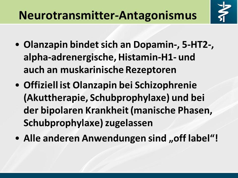 """Neurotransmitter-Antagonismus Olanzapin bindet sich an Dopamin-, 5-HT2-, alpha-adrenergische, Histamin-H1- und auch an muskarinische Rezeptoren Offiziell ist Olanzapin bei Schizophrenie (Akuttherapie, Schubprophylaxe) und bei der bipolaren Krankheit (manische Phasen, Schubprophylaxe) zugelassen Alle anderen Anwendungen sind """"off label !"""