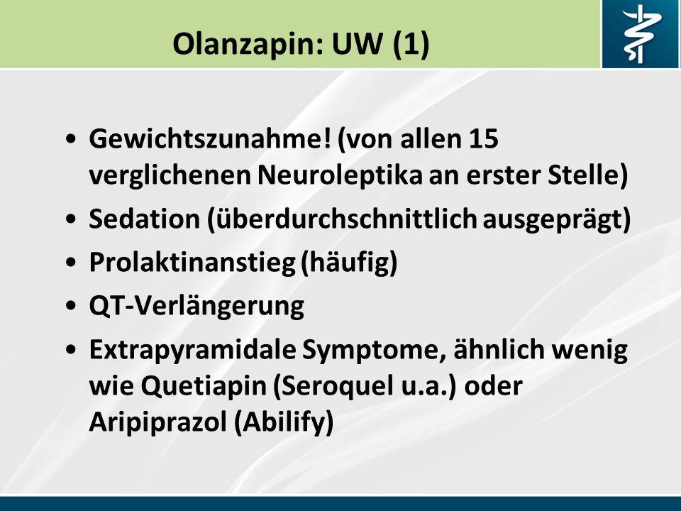 Olanzapin: UW (1) Gewichtszunahme.