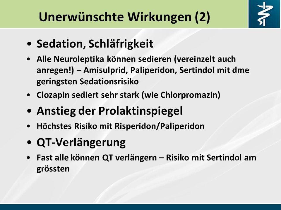 Unerwünschte Wirkungen (2) Sedation, Schläfrigkeit Alle Neuroleptika können sedieren (vereinzelt auch anregen!) – Amisulprid, Paliperidon, Sertindol mit dme geringsten Sedationsrisiko Clozapin sediert sehr stark (wie Chlorpromazin) Anstieg der Prolaktinspiegel Höchstes Risiko mit Risperidon/Paliperidon QT-Verlängerung Fast alle können QT verlängern – Risiko mit Sertindol am grössten